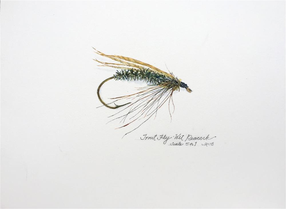 """""""Trout Fly - Wet Peacock"""" original fine art by Jean Krueger"""