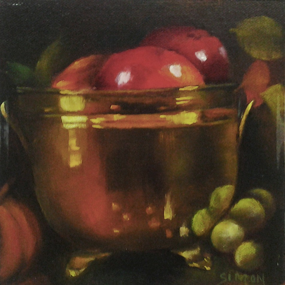 """Apples in Leaning Brass Pot"" original fine art by A.K. Simon"