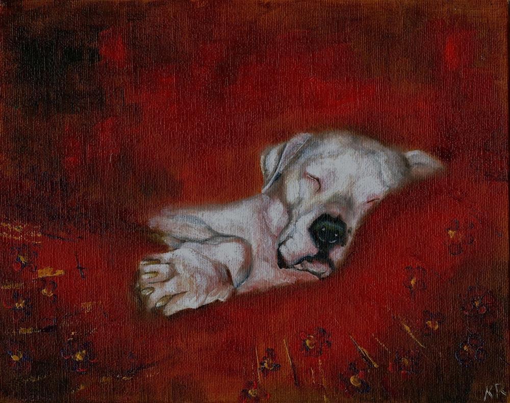 """Dog on the Duvet 2 (and work in progress shots)"" original fine art by Karen Robinson"