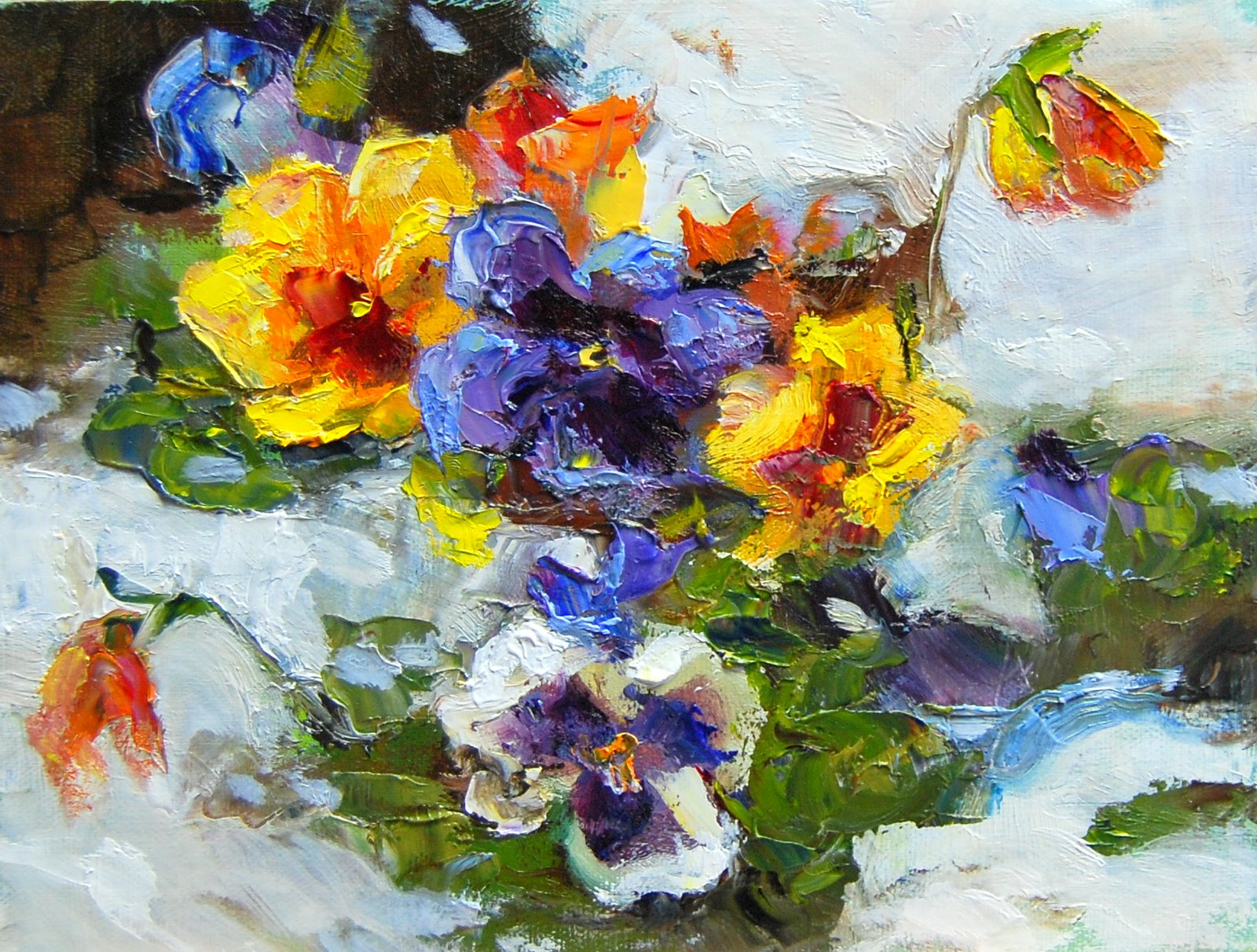 """""""Pansies in the Snow"""" original fine art by Julie Ford Oliver"""
