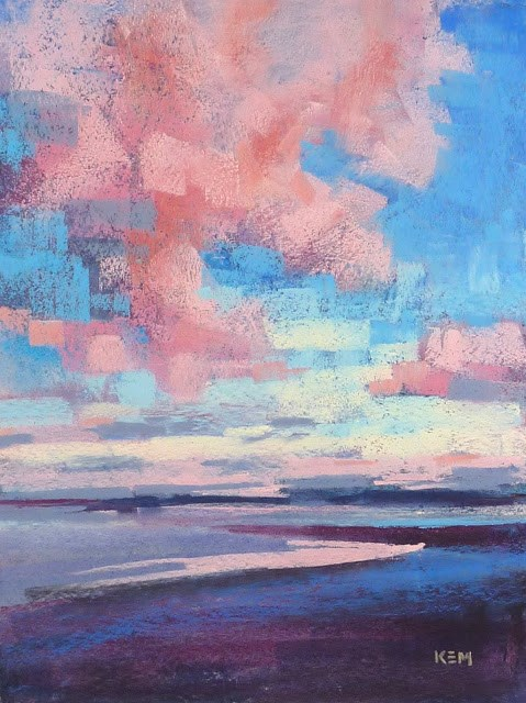 """""""Sunset at the Beach with Pink Clouds"""" original fine art by Karen Margulis"""