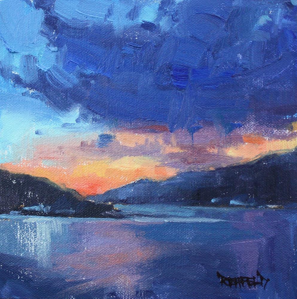 """Columbia River at Twilight"" original fine art by Cathleen Rehfeld"