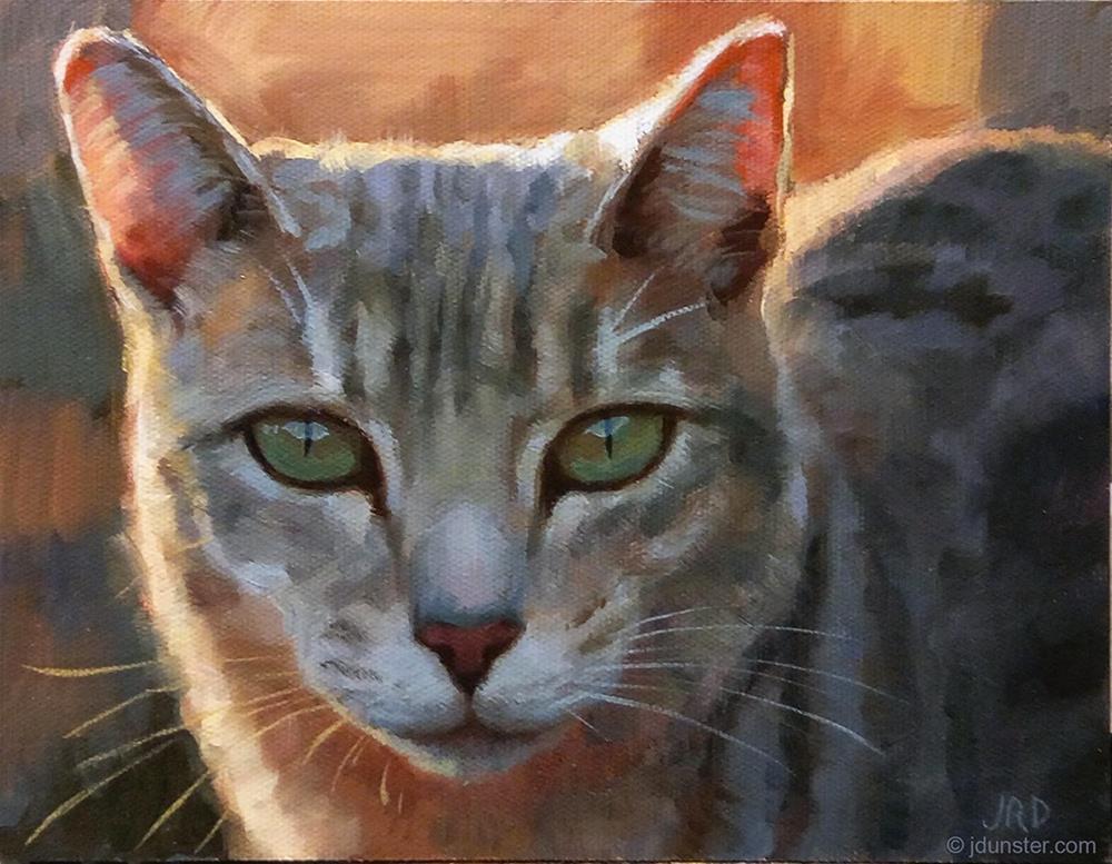 """""""Backlit Kitty"""" original fine art by J. Dunster"""