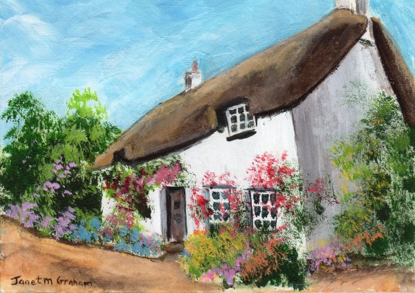 """""""Thatched Cottage ACEO"""" original fine art by Janet Graham"""