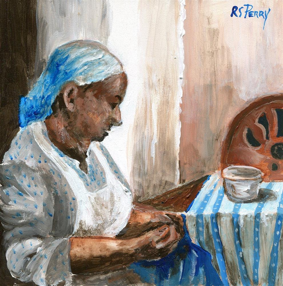 """Gullah Woman Sewing "" original fine art by R. S. Perry"