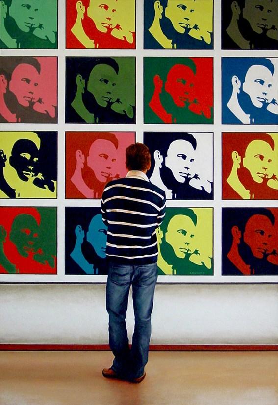 """Me, Me, Me! - 17 Self Portraits In 1 Painting"" original fine art by Gerard Boersma"