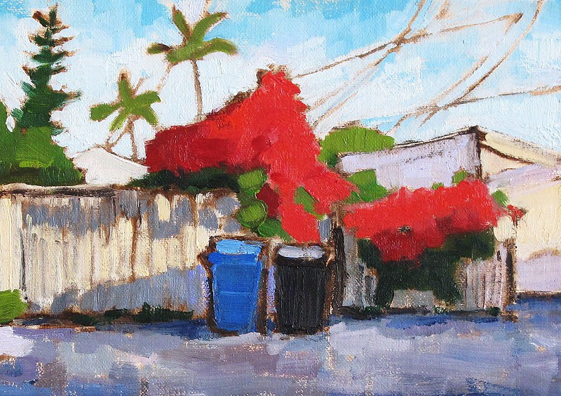 """""""Bougainvillea and Recycling Bins"""" original fine art by Kevin Inman"""