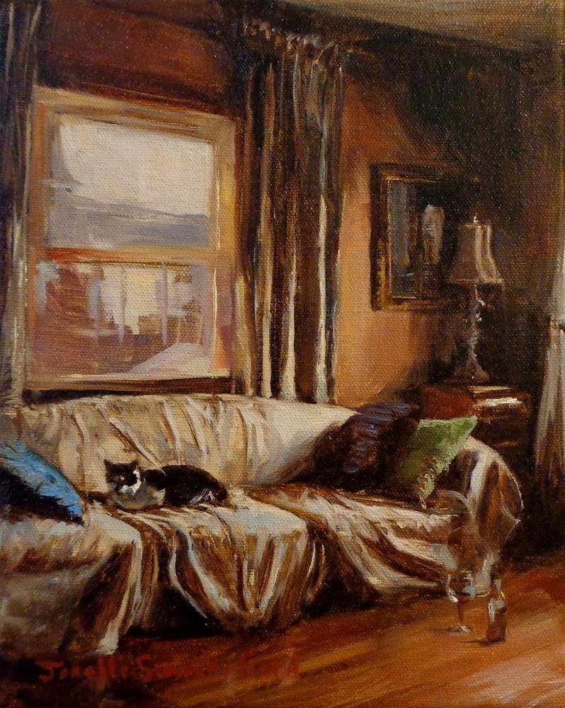 """""""Cat on a Messy Sofa"""" original fine art by Jonelle Summerfield"""