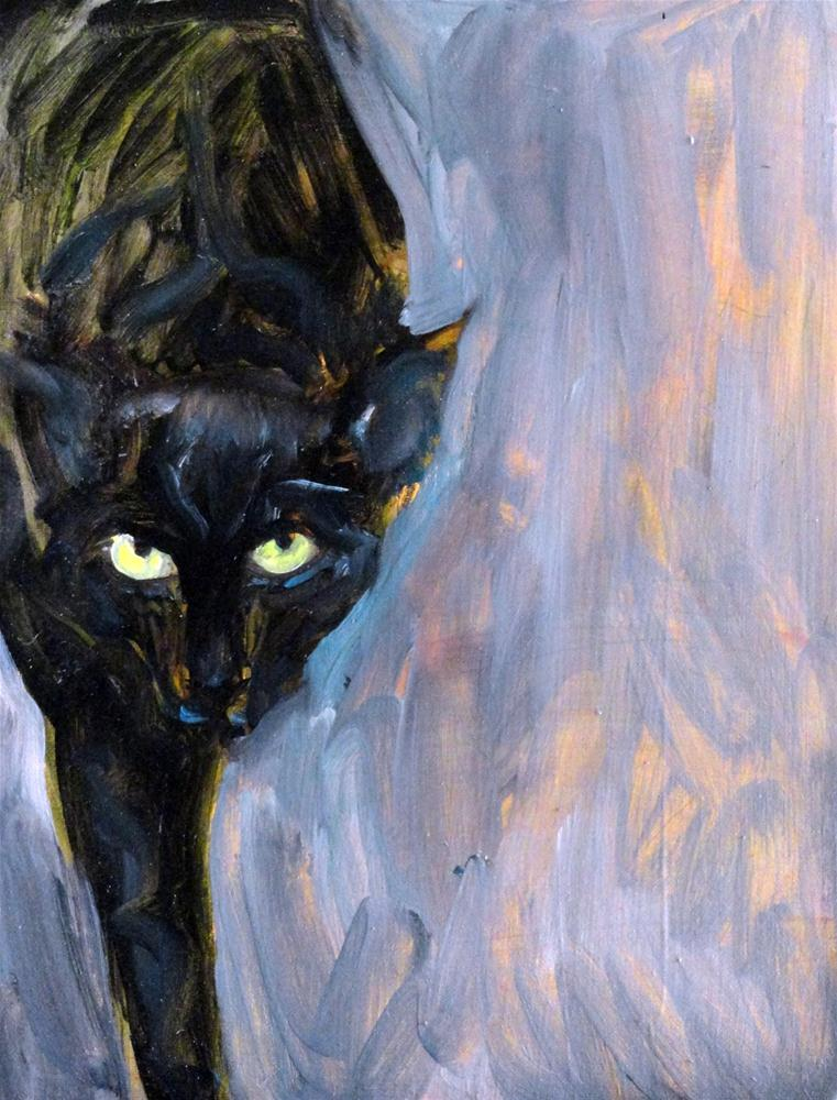 """Le Chat Noir"" original fine art by Valerie Vescovi"