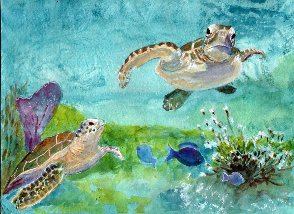 """Sea Turtles"" original fine art by Bunny Griffeth"
