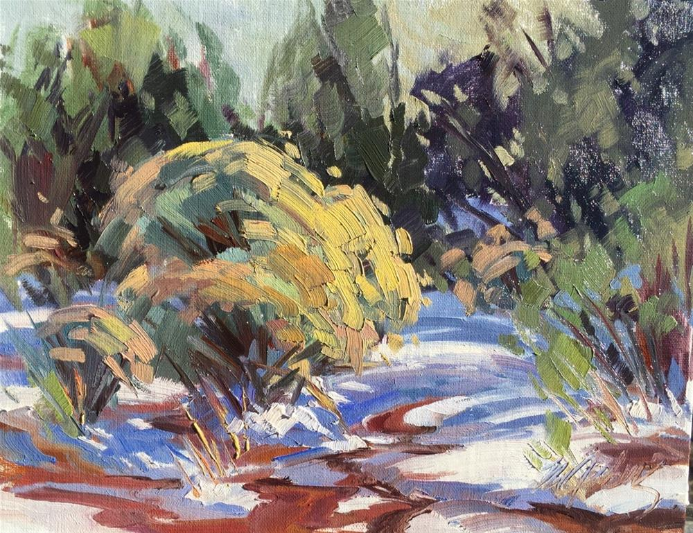"""""""Melting Snow and Red Dirt"""" original fine art by Mary Jabens"""