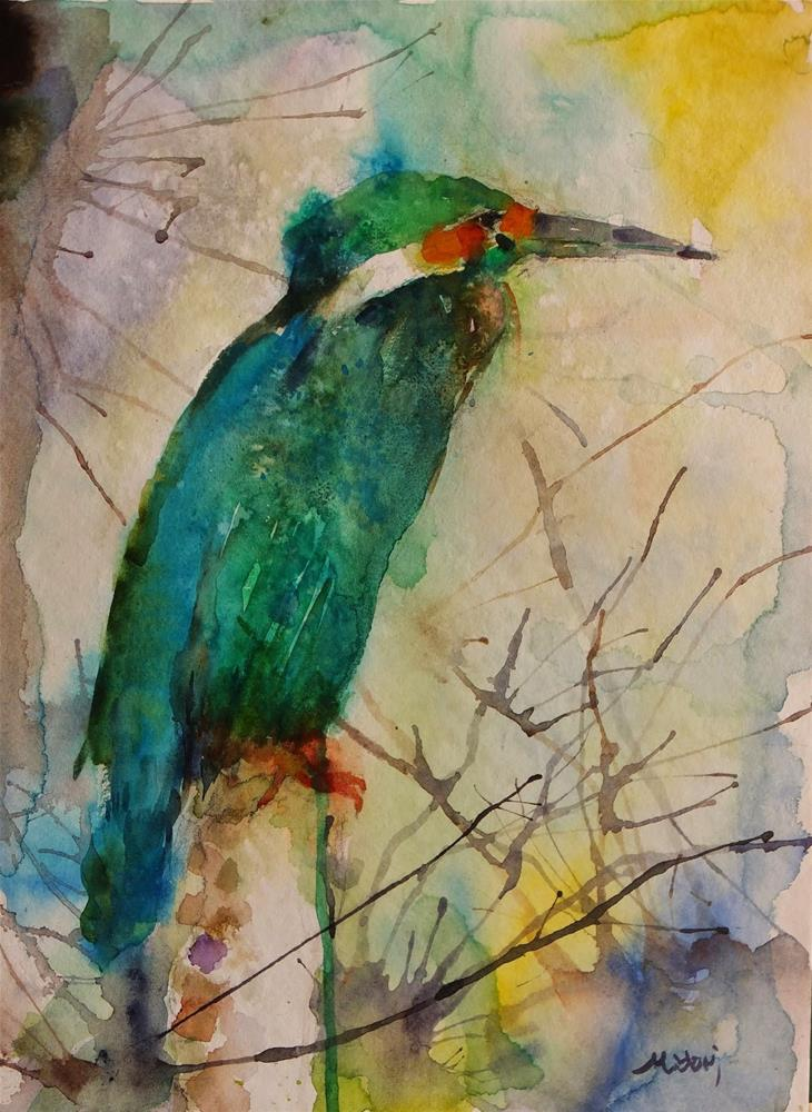 """A bird in desert"" original fine art by Midori Yoshino"