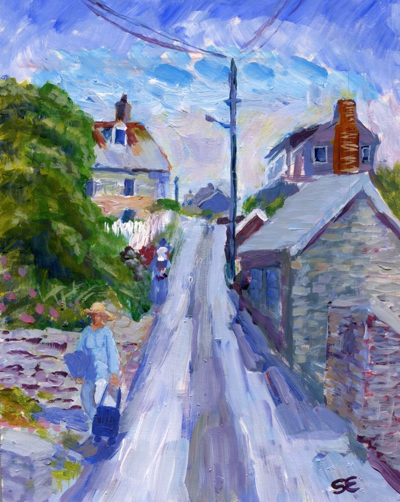 """""""Fore Street, Port Isaac, UK"""" original fine art by Stanley Epperson"""