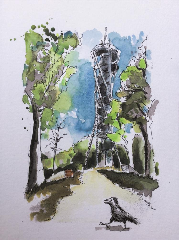 """3189 Observation Tower"" original fine art by Dietmar Stiller"
