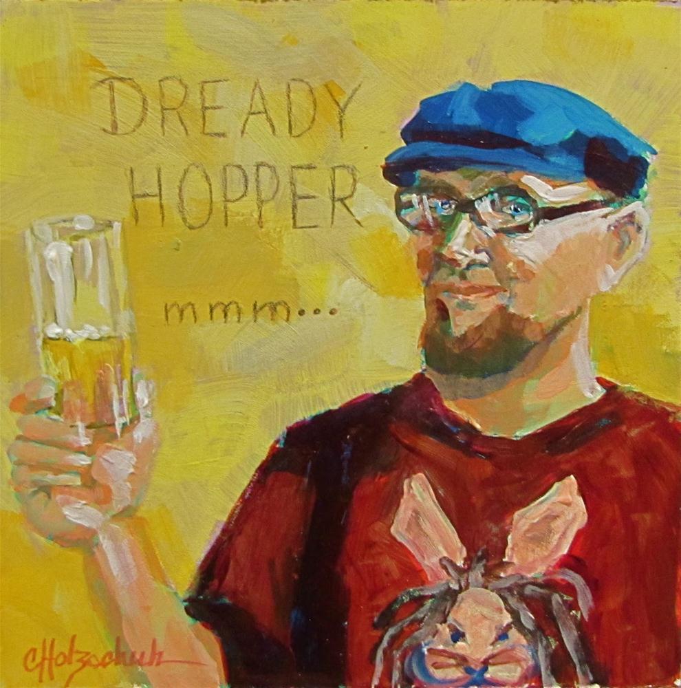 """Dready Hopper   6x6 acrylic"" original fine art by Christine Holzschuh"