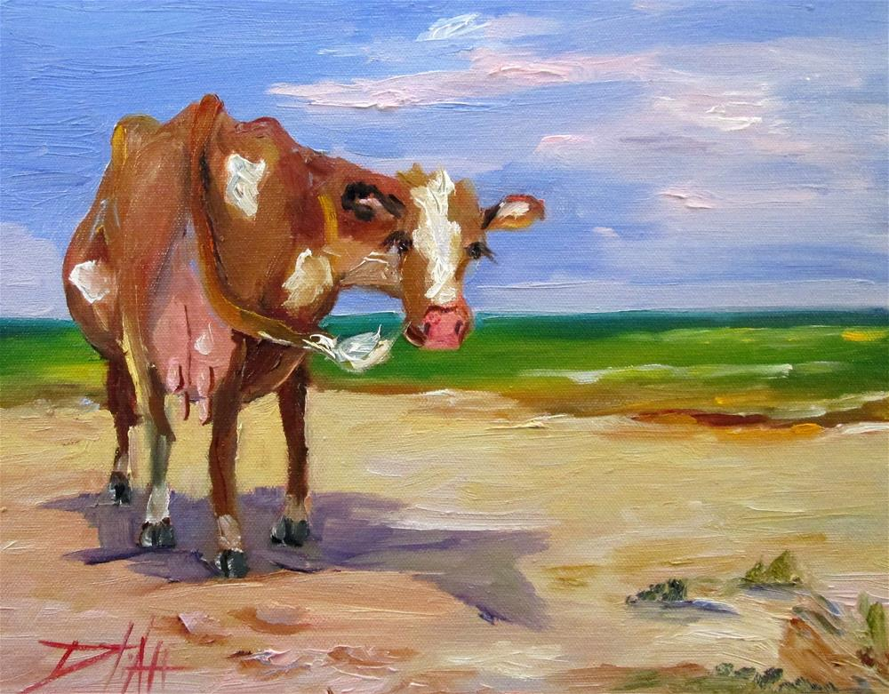 """Beach Cow"" original fine art by Delilah Smith"