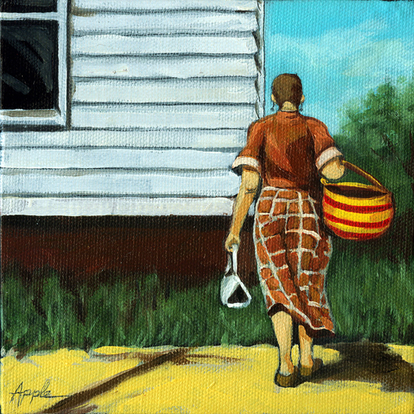 """Market Day - figurative oil painting"" original fine art by Linda Apple"