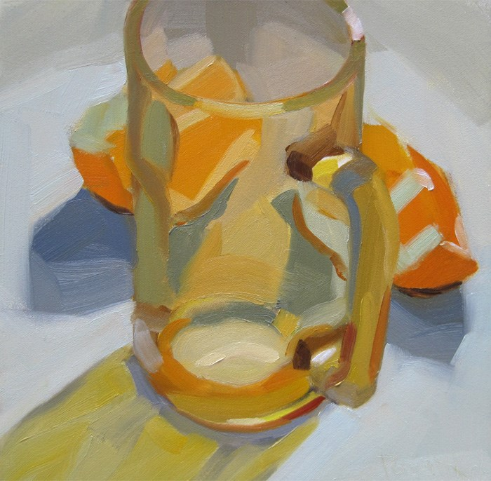 """Amber Glass and Orange Slices"" original fine art by Robin Rosenthal"