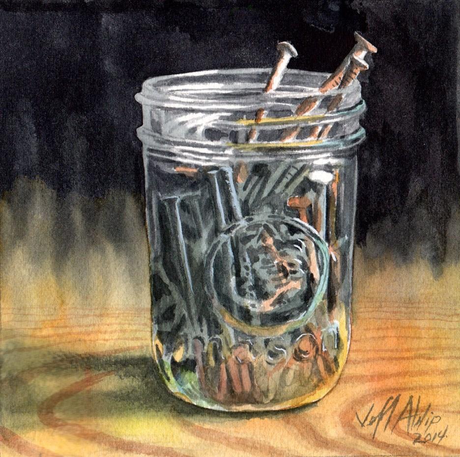 """Jar Of Nails"" original fine art by Jeff Atnip"