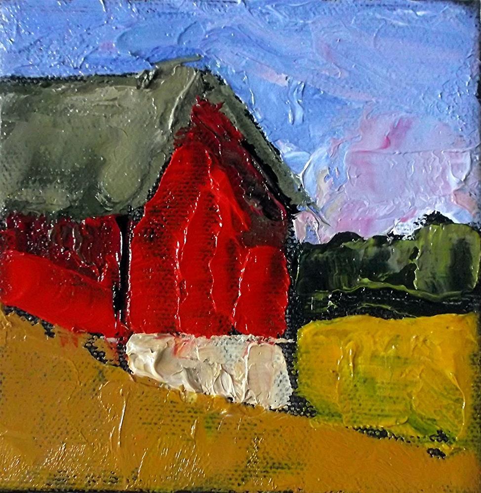 """""""Miniature Impressionist Oil Painting 4x4 Plein Air California FARM BARN Santa Cruz Landscape Lynne French Art"""" original fine art by lynne french"""