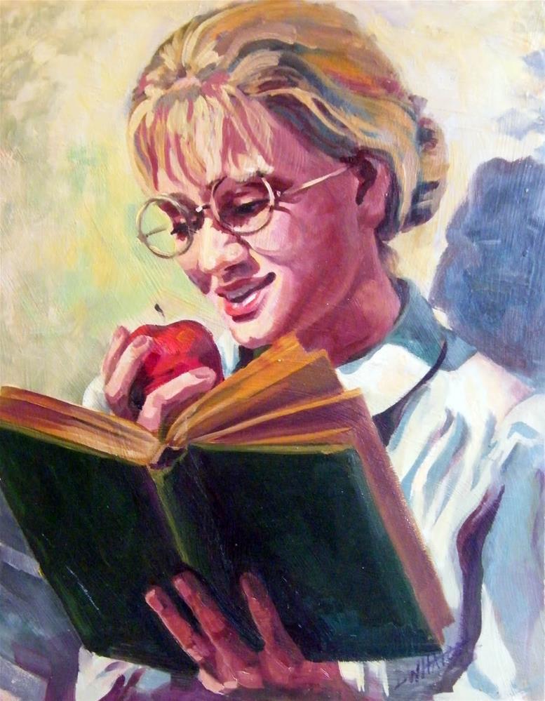 """""""Book worm"""" original fine art by Donna Whatcott Parsons"""