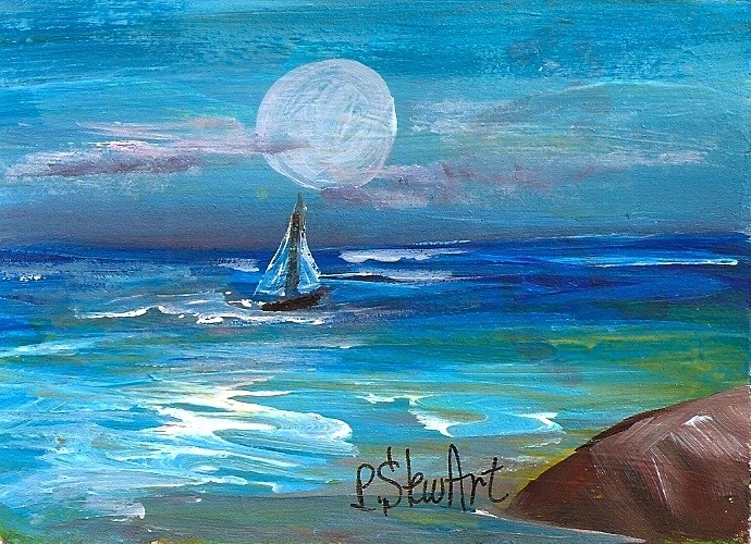 """ACEO, Sailboat on a Moonlit Night Seascape Acrylic Original Art, not a print"" original fine art by Penny Lee StewArt"
