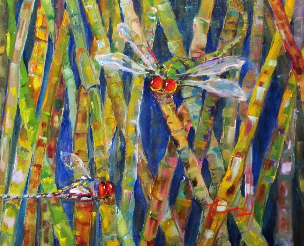"""""""Dragonflies and Bamboo No. 3"""" original fine art by Delilah Smith"""