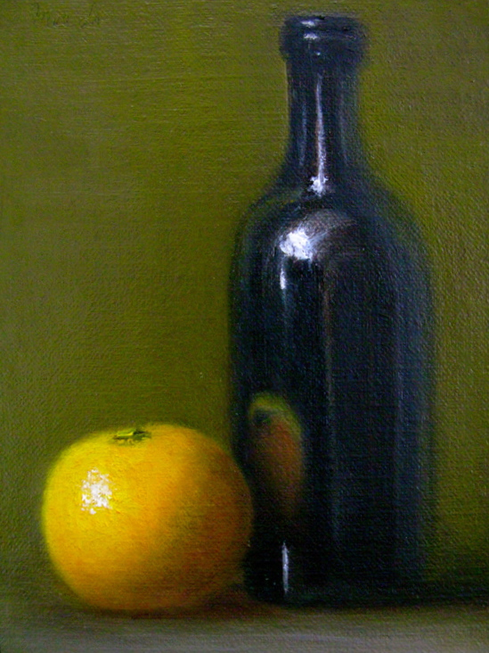 """""""Reflections: Still Life with Orange and Bottle"""" original fine art by MeeLi Lee"""