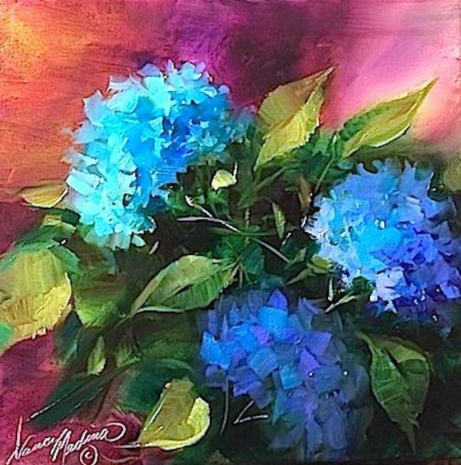 """Blue Rhapsody Hydrangeas and Bittersweet High School Memories - Flower Paintings by Nancy Medina"" original fine art by Nancy Medina"