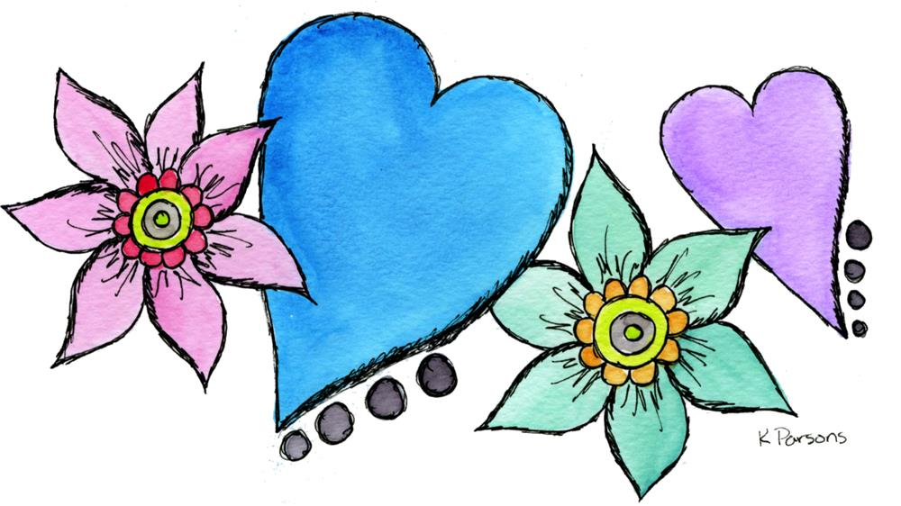 """""""Hearts and Flowers"""" original fine art by Kali Parsons"""