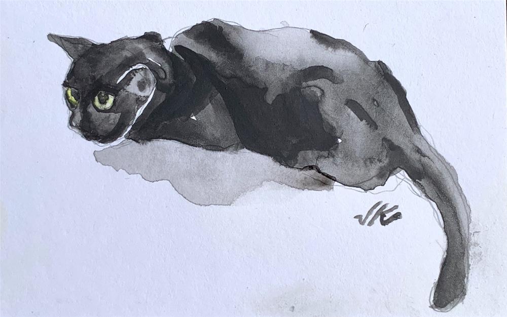 """Daily Cat 123"" original fine art by Jean Krueger"