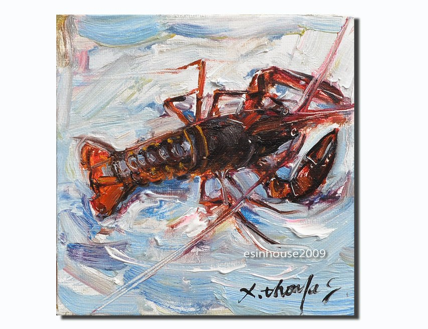"""6x6 seascape Original oil painting lobster Animal canvas shrimp fish Arthropod"" original fine art by Thomas Xie"