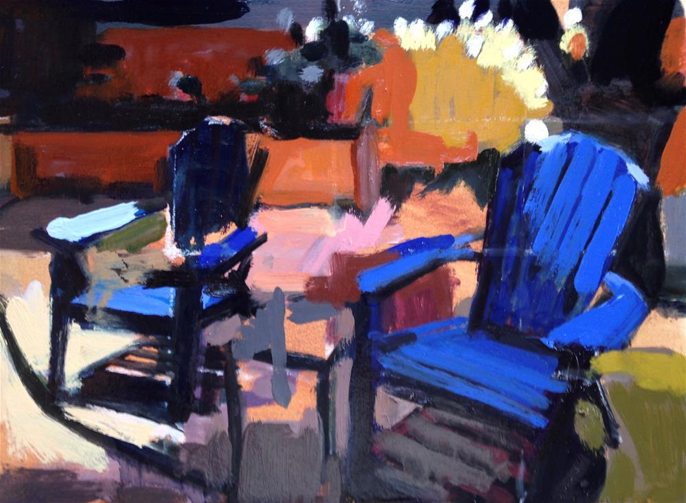 """Early Morning Chairs"" original fine art by Pamela Hoffmeister"