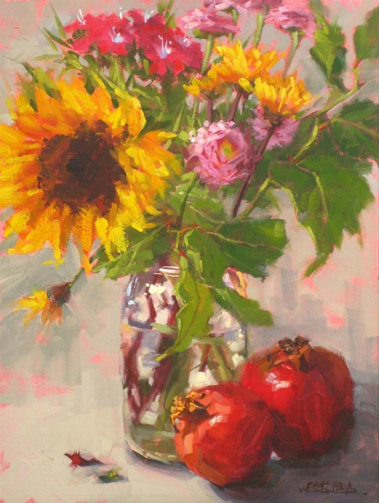 """""""Sunflower With Pomegranates"""" original fine art by Karen Werner"""
