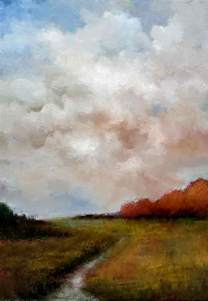 """Distant Red Trees"" original fine art by Bob Kimball"