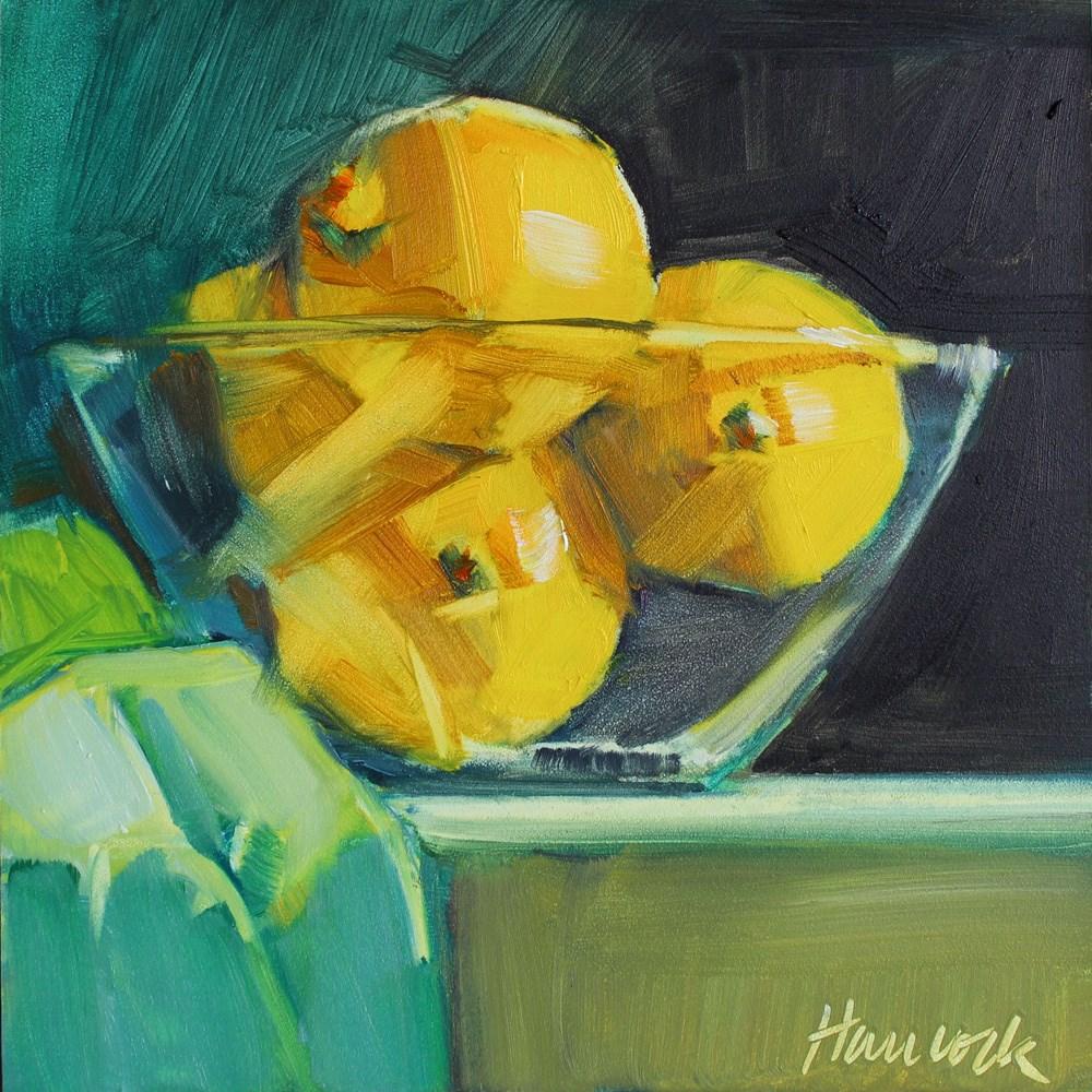 """""""Bowl of Lemons on Black and Teal"""" original fine art by Gretchen Hancock"""