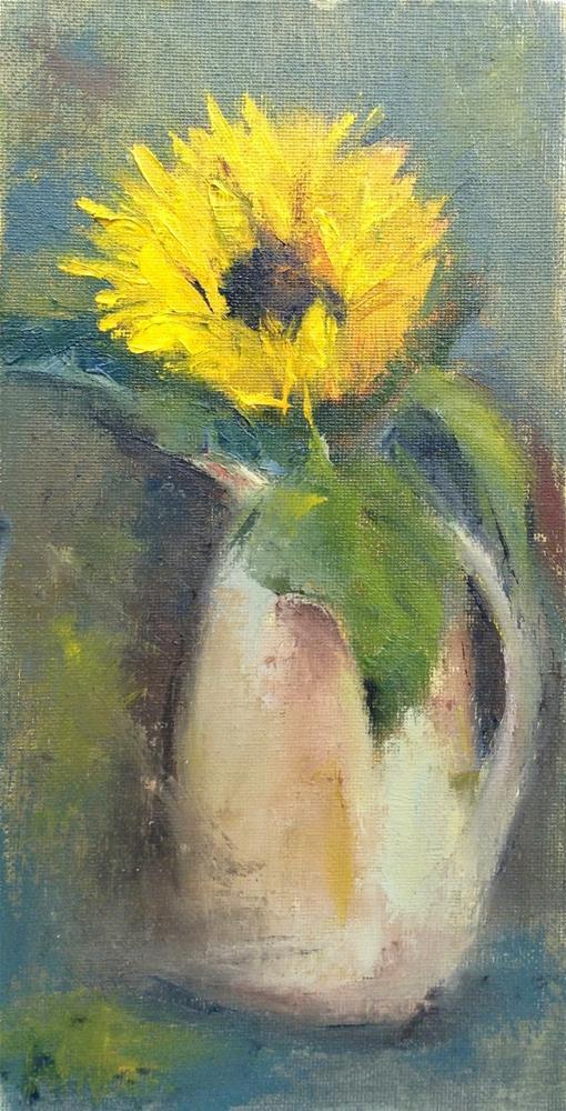 """Sunflower in Crock"" original fine art by Carol Wiley"