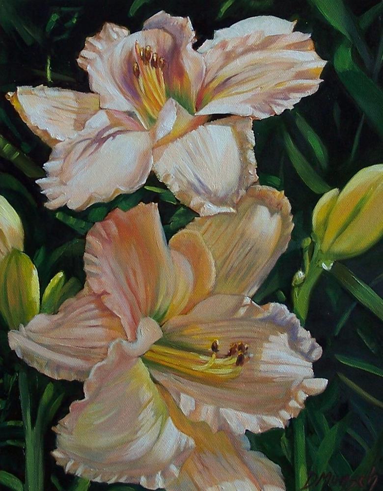 """""""Giant Peach Lilies"""" original fine art by Donna Munsch"""