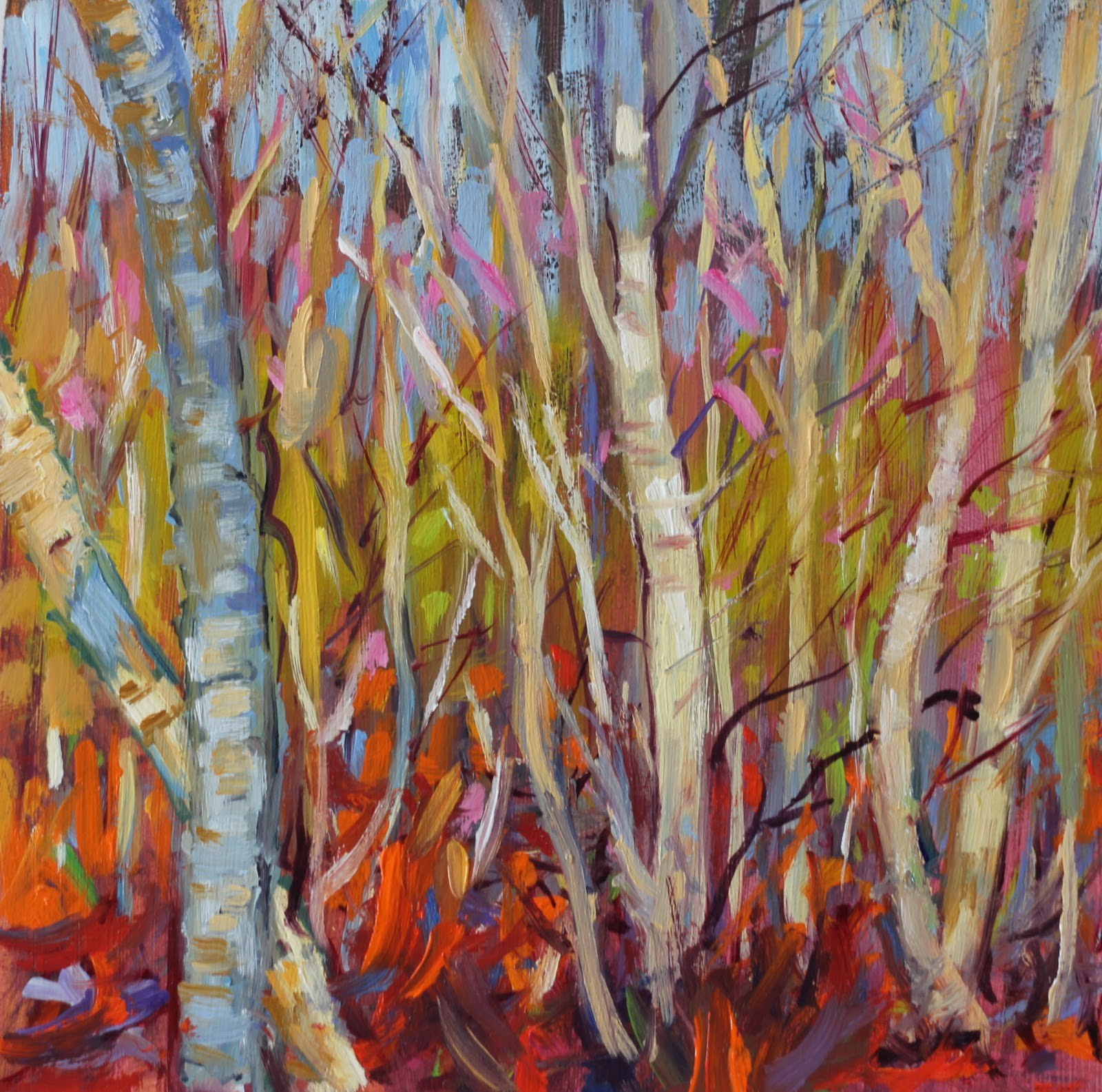 """Silver Birches Bathing"" original fine art by Ken Devine"