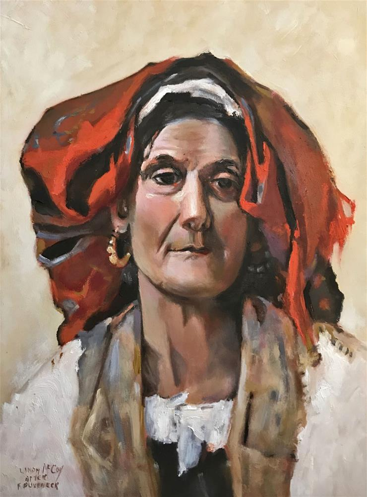 """Head of an Italian Woman after F. Duveneck"" original fine art by Linda McCoy"