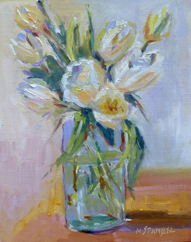 """White Tulips 14046"" original fine art by Nancy Standlee"