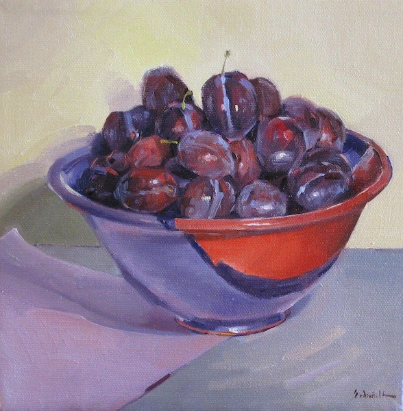 """Purple Bowl of Plums fruit bowl still life kitchen wall art"" original fine art by Sarah Sedwick"