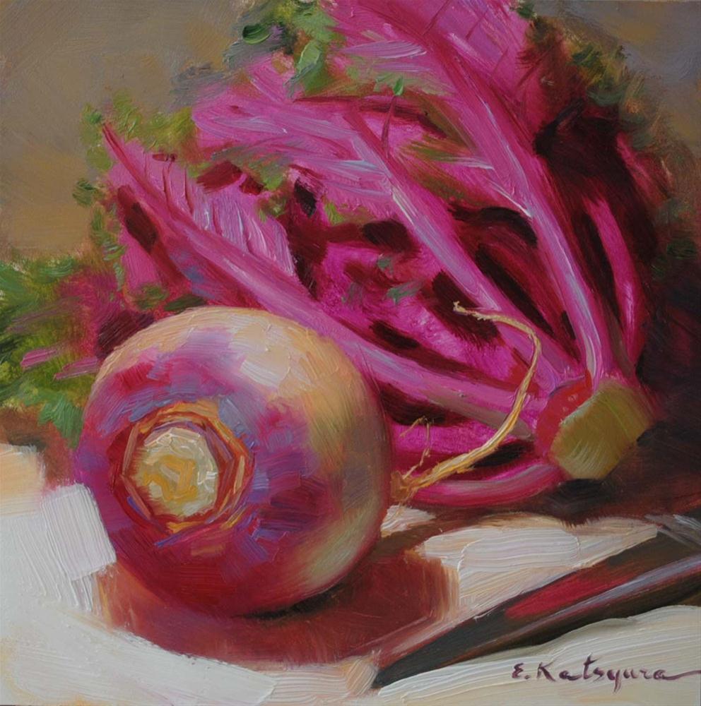 """Turnip and Kale Flower"" original fine art by Elena Katsyura"