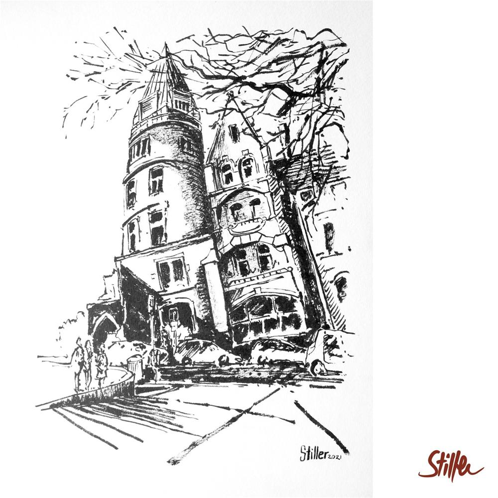 """3475 Corner House in Hanover"" original fine art by Dietmar Stiller"