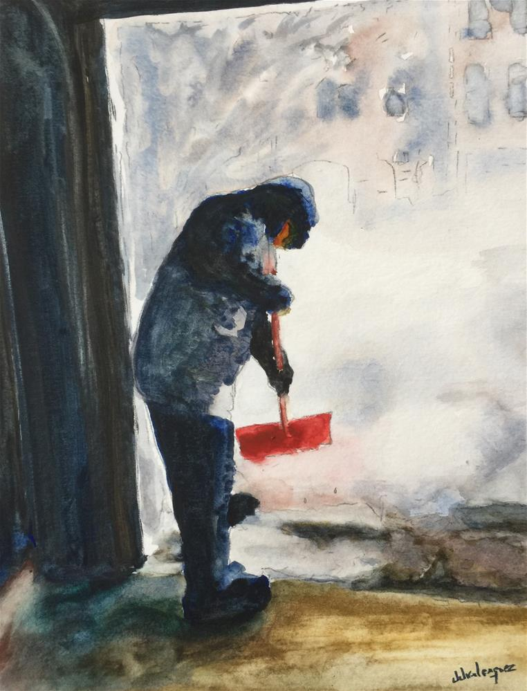"""Cleaning during the Storm"" original fine art by Juan Velasquez"