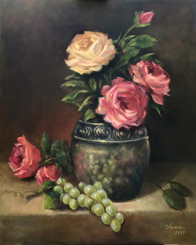 """Silver Reflections with Roses & Grapes"" original fine art by Vana Meyers"