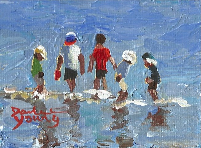 """941 Beach Kids, miniature knife painting, 2.5x3.5, oil on board"" original fine art by Darlene Young"