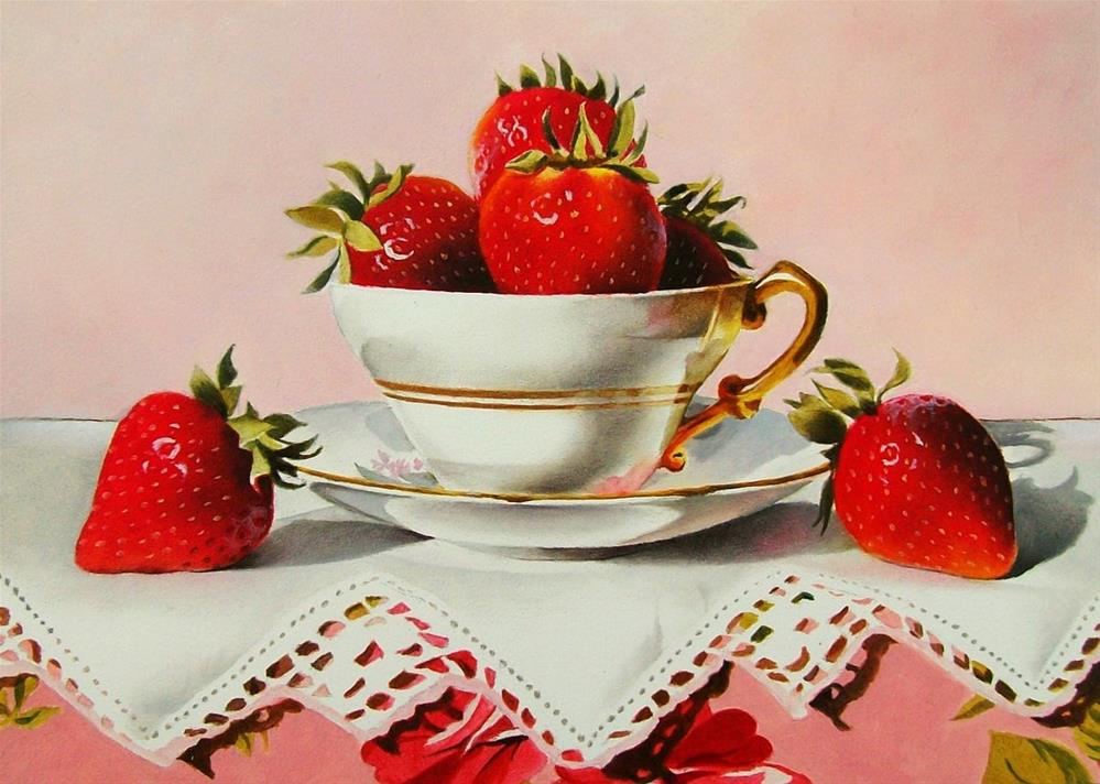 """""""Still Life with Strawberries, Tea Cup and Lace"""" original fine art by Jacqueline Gnott, TWSA, WHS"""