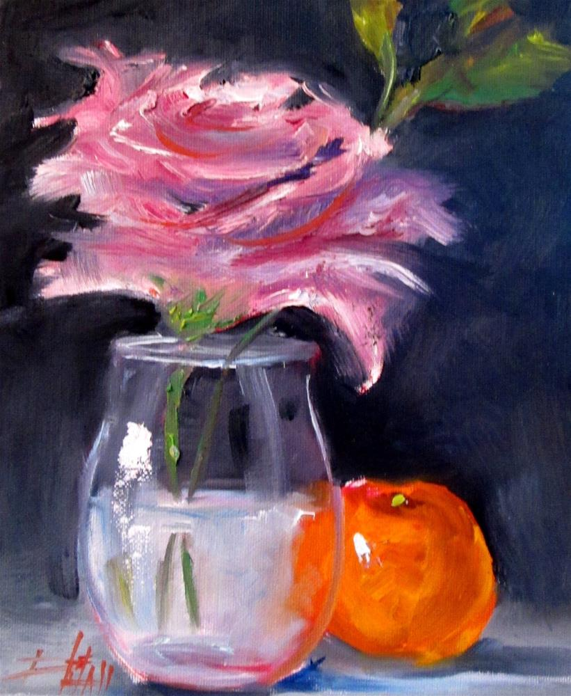 """Rose and Orange"" original fine art by Delilah Smith"