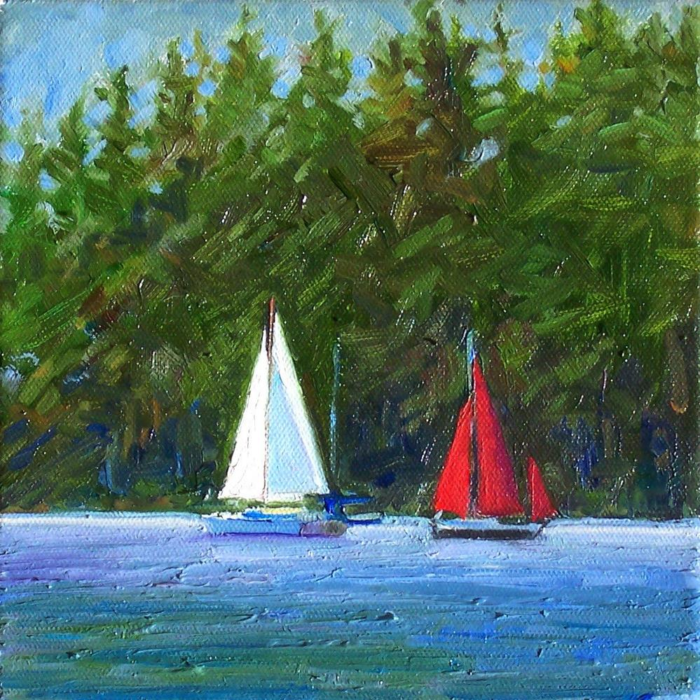 """Sunny Sailing,seascape,oil on canvas,8x8.price$300"" original fine art by Joy Olney"